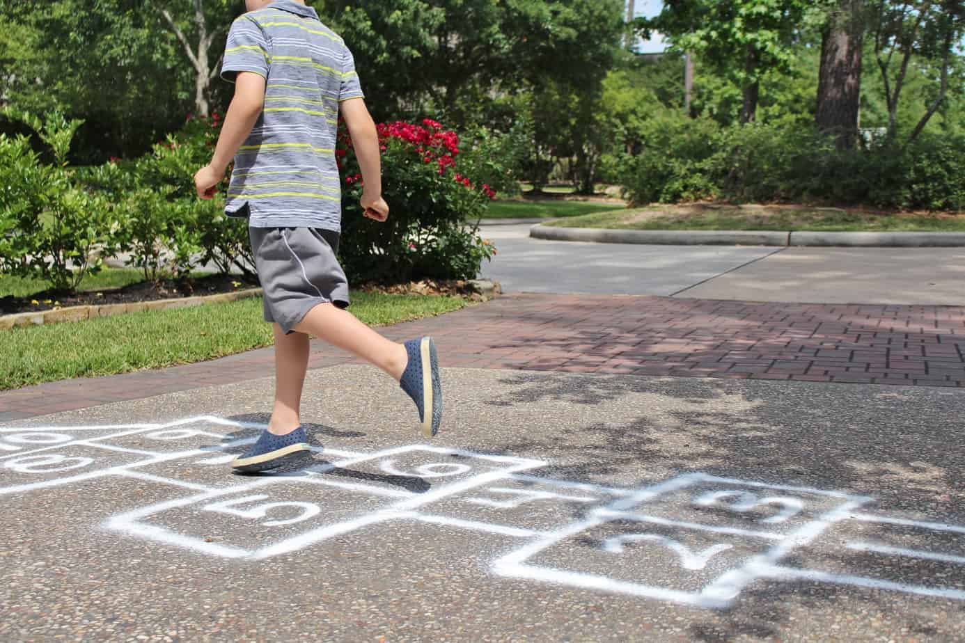 hopscotch created using spray chalk