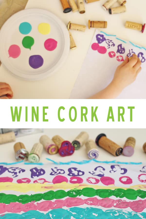 wine cork stamp art activity