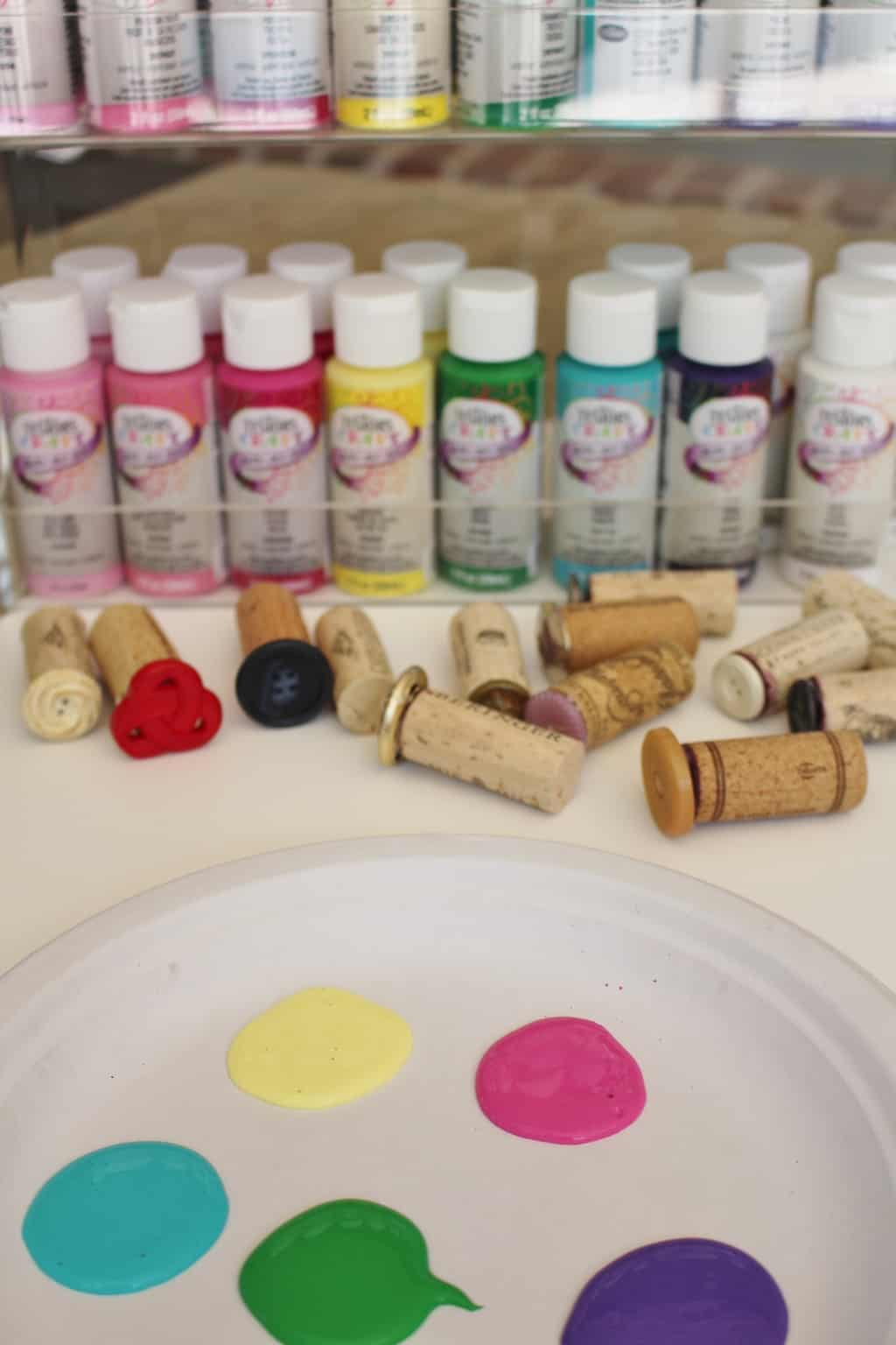 wine cork stamp art project